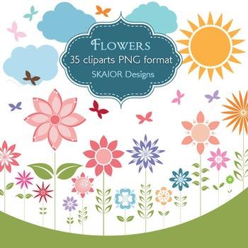 Flowers Clipart Flowers Clip Art Sun Butterflies Clouds Ga