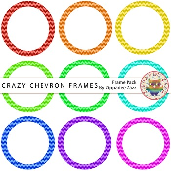 Digital Frames - Crazy Chevron Circle Frames - 9 Frames