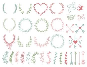 Digital Laurel Wreath Clip Art Hand Drawn Laurel Wreath Le