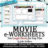 Digital Movie eWorksheets Analysis & Comprehension for Any