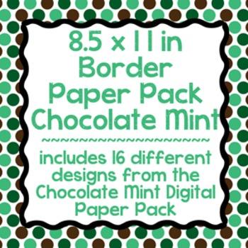 Digital Paper-8.5 x 11 Border Frame Paper Chocolate Mint