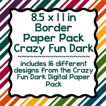 Digital Paper-8.5 x 11 Border Frame Paper Crazy Fun Dark