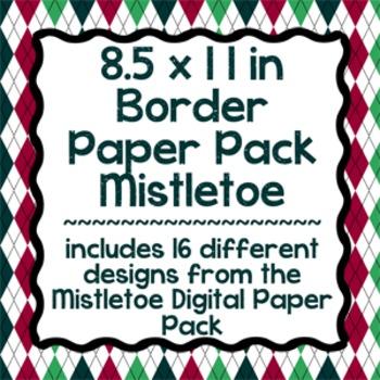 Digital Paper-8.5 x 11 Border Frame Paper Mistletoe