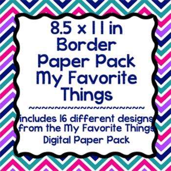 Digital Paper-8.5 x 11 Border Frame Paper My Favorite Things
