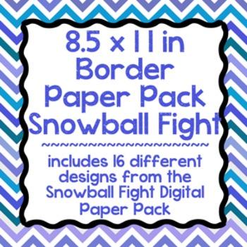 Digital Paper-8.5 x 11 Border Frame Paper Snowball Fight