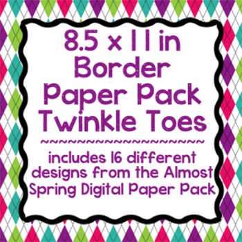 Digital Paper-8.5 x 11 Border Frame Paper Twinkle Toes