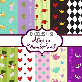 Digital Paper - Alice in Wonderland great for Classroom ar
