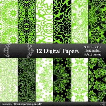 Digital Paper Art Instant Download Floral Abstract A4 Vint