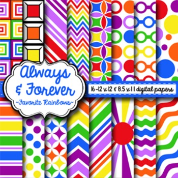 Digital Paper Favorite Rainbows