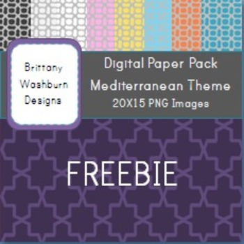 Digital Paper Background Freebie! Mediterranean Colors
