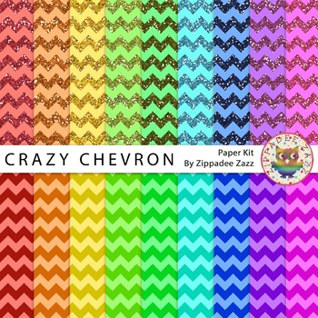 Digital Paper / Background - Rainbow Crazy Chevron - 18 Papers