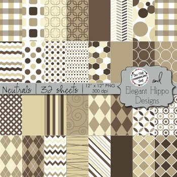 Digital Paper Backgrounds: Neutrals