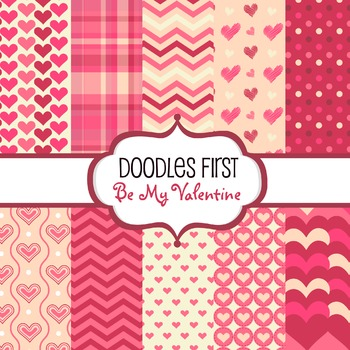 Digital Paper - Be My Valentine great for Classroom art projects