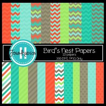 Digital Paper ~ Bird's Nest (Chevrons, Stripes, and Polka Dots)