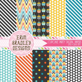 Digital Paper - Birthday Party Background Patterns