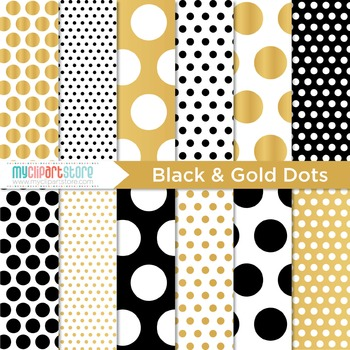 Digital Paper - Black and Gold (foil) Polka Dots