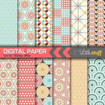 Digital Paper, Blue & Coral Digital Backgrounds, Tropical