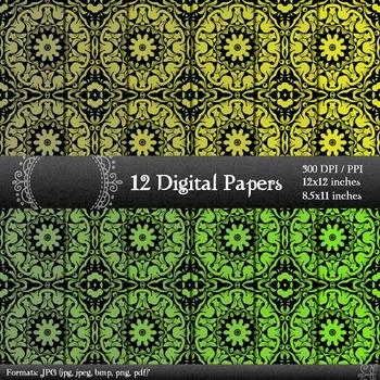 Digital Paper Book Clip Scrap Booking Printable Set 12x12