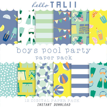 Digital Paper: Boys Pool Party