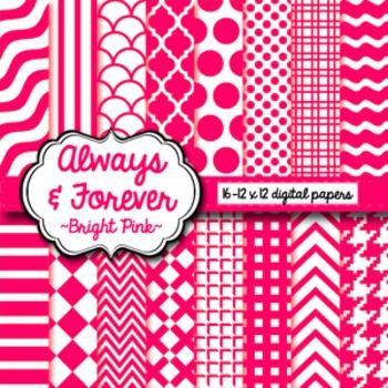 Digital Paper Bright Pink