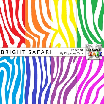 Digital Paper - Bright Safari Zebra Stripes Digital Paper