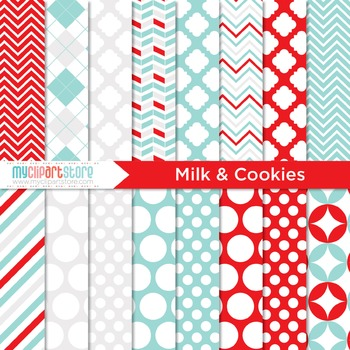Digital Paper - Christmas / Milk & Cookies
