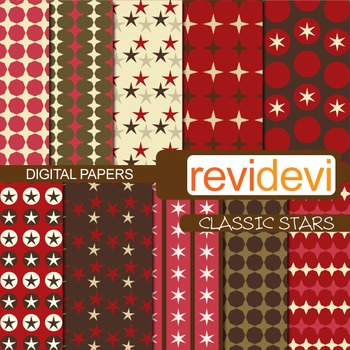Digital Paper Classic Stars (patterned background for teac