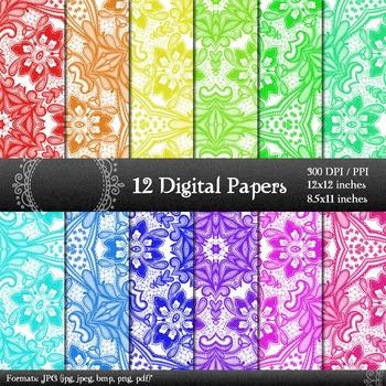 Digital Paper Collag Piecing Supplie Layout Scrap Booking