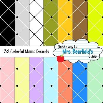 Digital Paper {Colorful Memo Board}