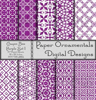Digital Paper: Crayon Box Purple Set 1