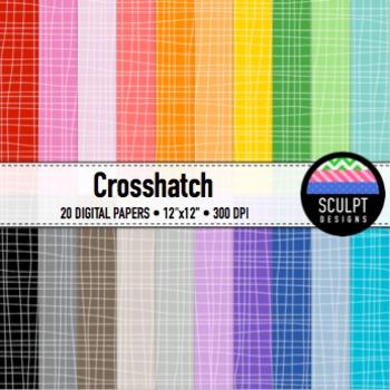 Digital Paper ~ Crosshatch ~ Twenty Colors
