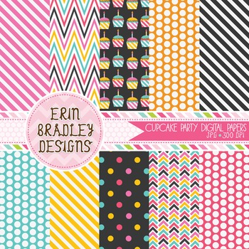 Digital Paper - Cupcake Party Background Patterns