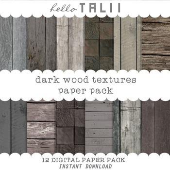 Digital Paper: Dark Wood Textures