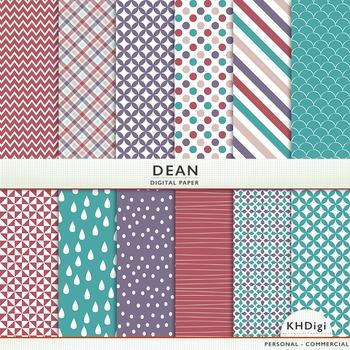 "Digital Paper - ""Dean"" - Teal Blue, Purple, Soft Burgundy"