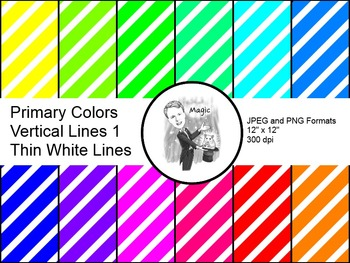 Digital Paper - Diagonal Lines Primary Colors 1 (Thin Whit