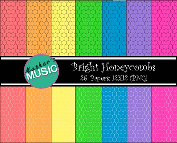 Digital Paper / Digital Background - Bright Honeycombs