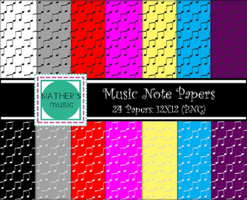 Digital Paper / Digital Background - Music Notes