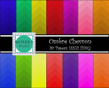 Digital Paper / Digital Background - Ombre Chevron