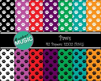 Digital Paper / Digital Background - Paws