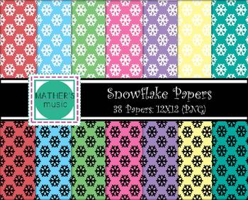 Digital Paper / Digital Background - Snowflakes
