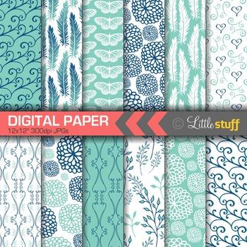 Digital Paper, Digital Backgrounds, Patterns, Feathers Flo