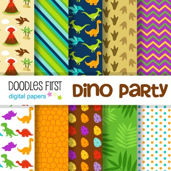 Digital Paper - Dino Party great for Classroom art projects
