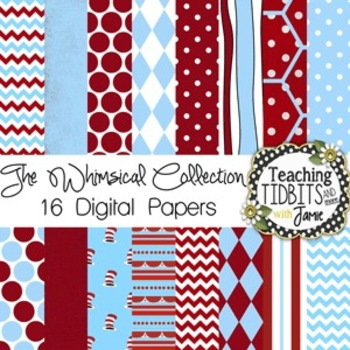 Digital Papers - Whimsical Themed Red and Blue {Personal o