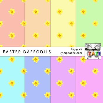 Easter Daffodils Spring Digital Paper or Backgrounds