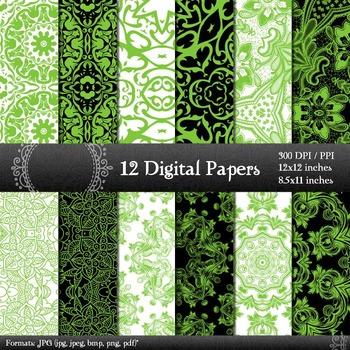 Digital Paper Floral A4 12x12 + 8.5x11 Inch Henna Retro Te