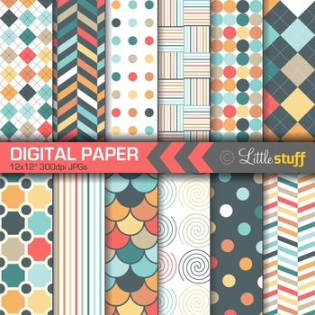 Digital Paper, Geometric Digital Paper Pack, Argyle, Herringbone