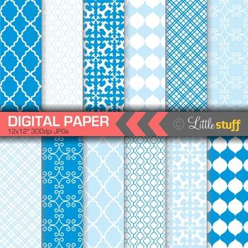 Digital Paper, Geometric Digital Paper Pack, Blue Digital Papers