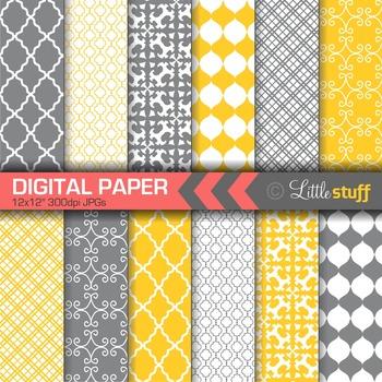 Digital Paper, Geometric Digital Paper Pack, Yellow and Gr