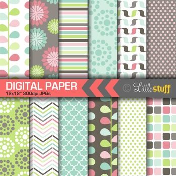 Digital Paper, Geometric Patterns, Digital Backgrounds, Pi