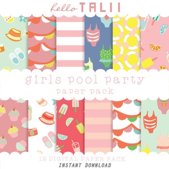 Digital Paper: Girls Pool Party